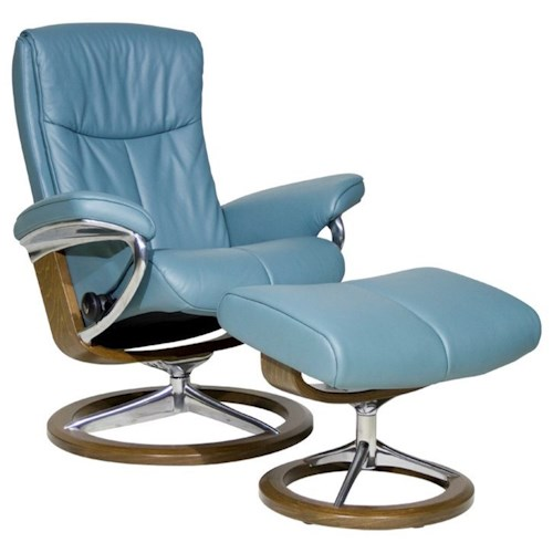 Stressless by Ekornes Stressless Peace Small Signature Reclining Chair and Ottoman