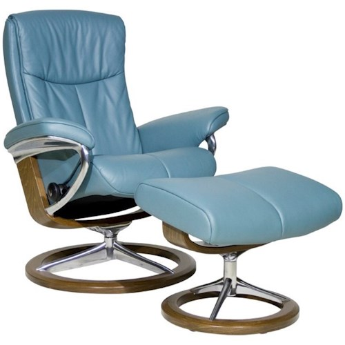 Stressless Peace Small Reclining Chair Ottoman With Signature Base