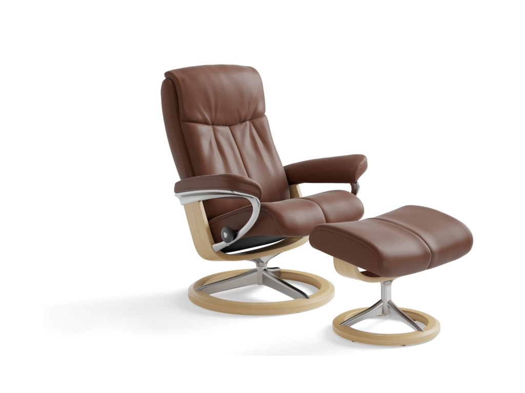 Stressless PeaceMedium Chair & Ottoman with Signature Base