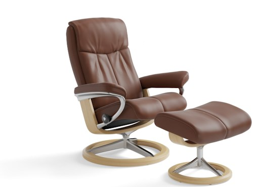 Stressless Peace Small Reclining Chair & Ottoman with Signature Base