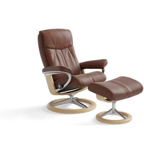 Stressless Peace Medium Reclining Chair & Ottoman with Signature Base