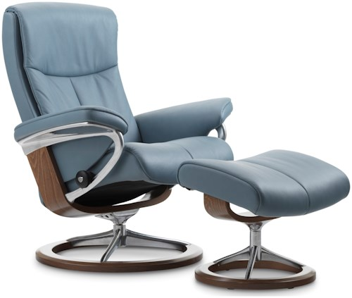 Stressless Peace Large Reclining Chair & Ottoman with Signature Base