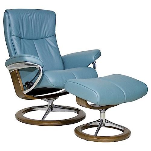 Stressless by Ekornes Stressless Peace Medium Signature Reclining Chair and Ottoman