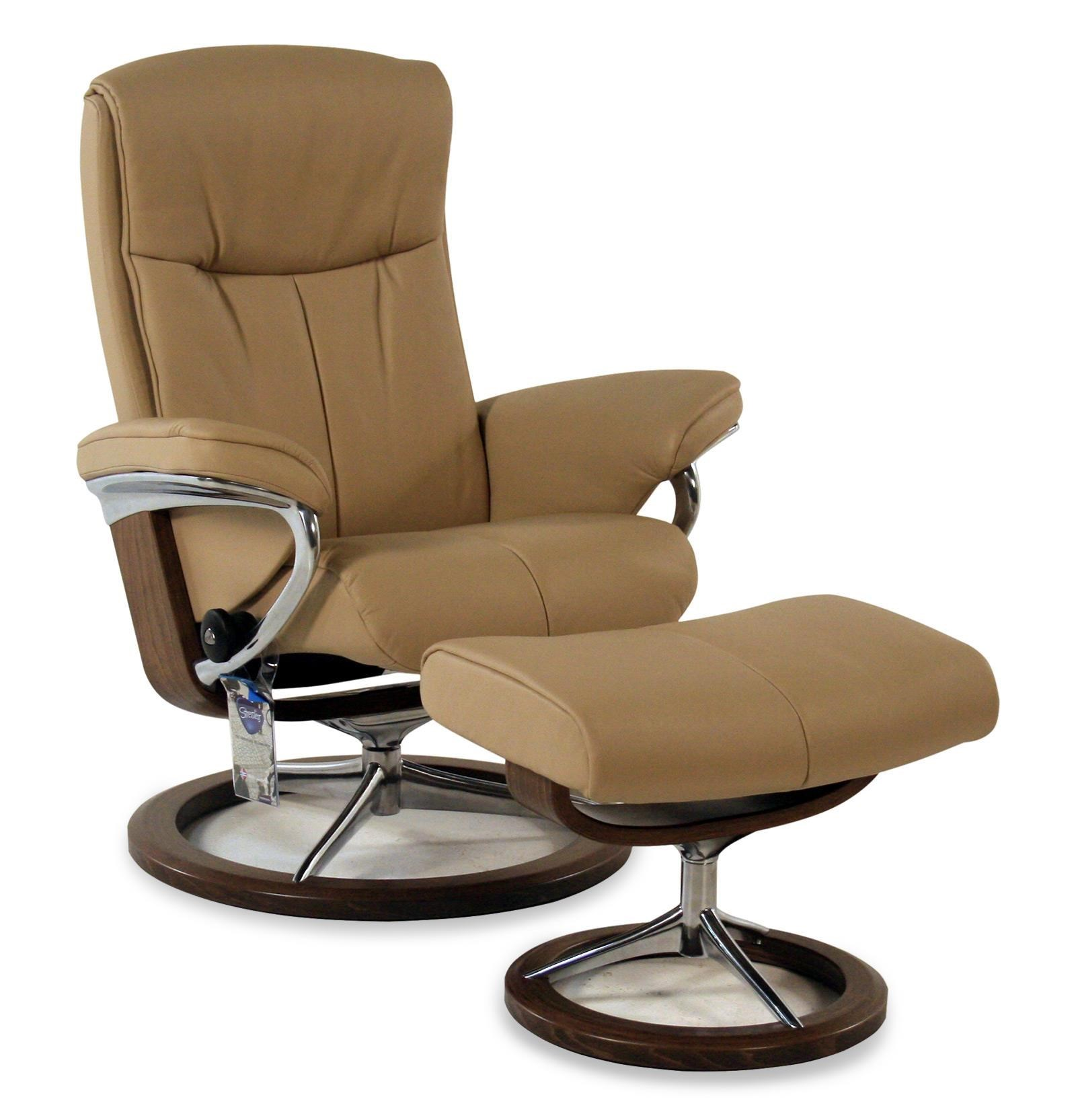 Stressless By Ekornes Peace Small Signature Reclining Chair/Ottoman: Paloma  Beige