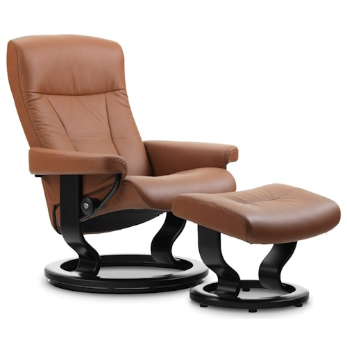 Stressless by Ekornes Stressless President Medium Classic Reclining Chair and Ottoman