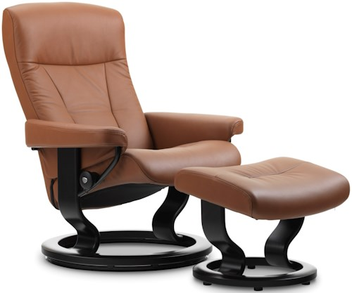 Stressless by Ekornes Stressless President Small Classic Reclining Chair and Ottoman