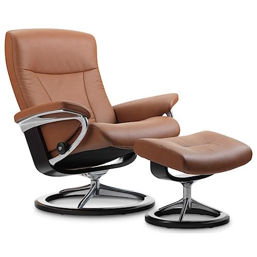 Stressless by Ekornes Stressless President Medium Signature Reclining Chair and Ottoman