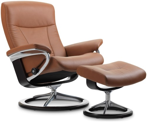 Stressless by Ekornes Stressless President Medium Signature Reclining Chair and Ottoman
