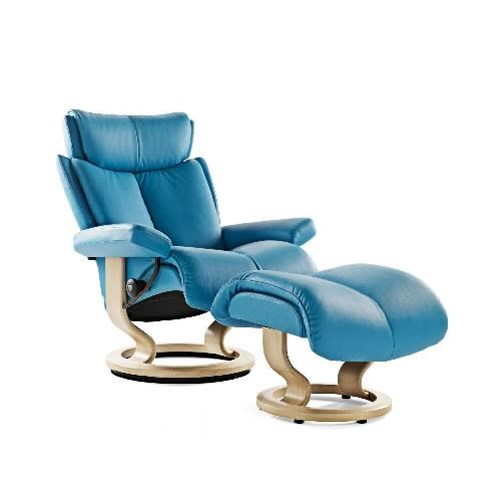 Stressless by Ekornes Stressless Recliners Magic Medium Recliner and Ottoman