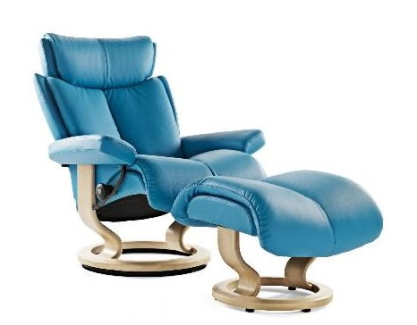 Stressless MagicMedium Chair & Ottoman with Classic Base
