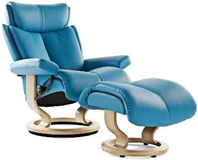 Stressless Magic Large Reclining Chair & Ottoman with Classic Base