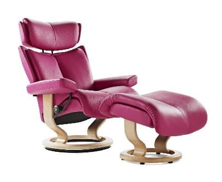 Stressless Magic Medium Reclining Chair & Ottoman with Classic Base ...
