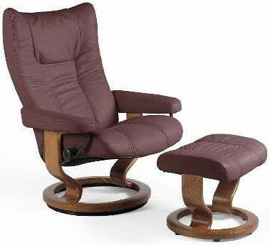 Stressless Wing Medium Reclining Chair & Ottoman with Classic Base