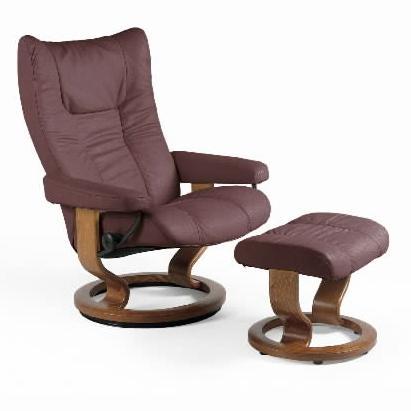 Stressless WingMedium Chair U0026 Ottoman With Classic Base ...