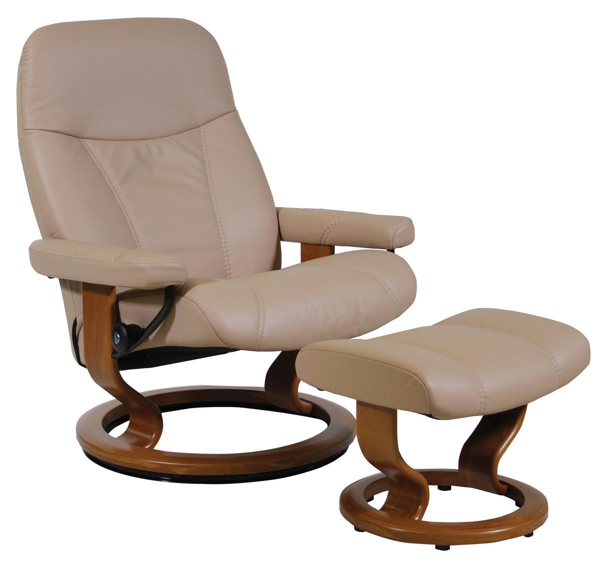 Stressless By Ekornes Consul Large Stressless Chair U0026 Ottoman   HomeWorld  Furniture   Reclining Chair U0026 Ottoman Sets