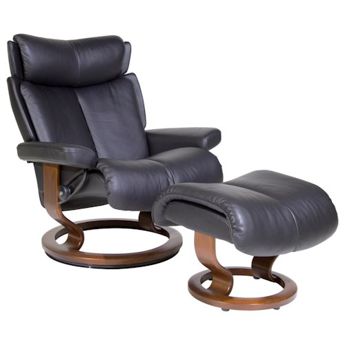 Stressless by Ekornes Stressless Recliners Magic Large Recliner and Ottoman
