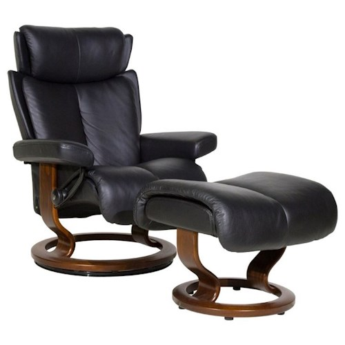 Stressless by Ekornes Stressless Recliners Magic Small Recliner & Ottoman