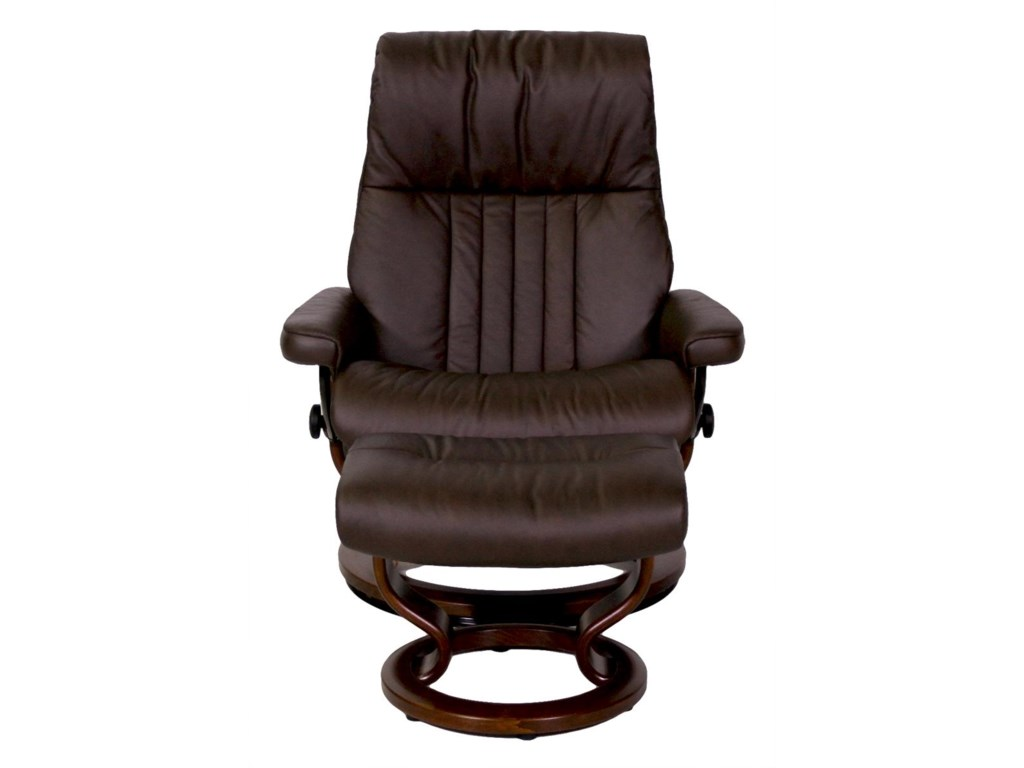 Stressless by Ekornes CrownLarge Stressless Chair and Ottoman