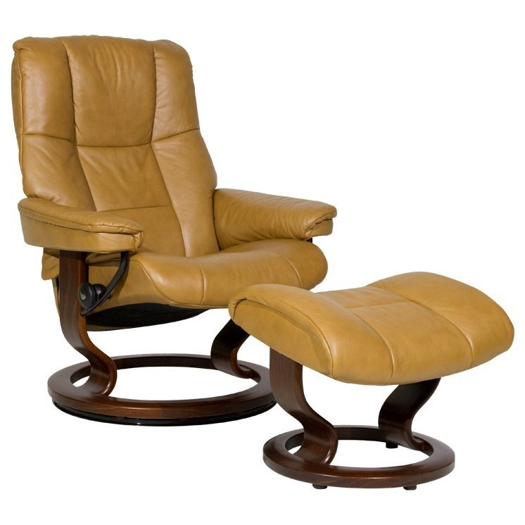 Stressless MayfairMedium Chair & Ottoman with Classic Base