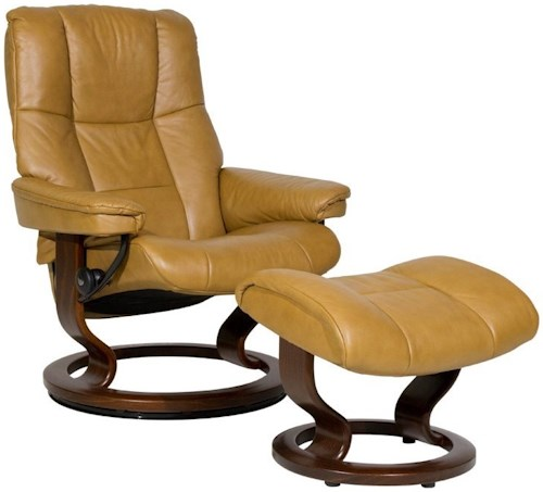 Stressless Mayfair Medium Reclining Chair & Ottoman with Classic Base