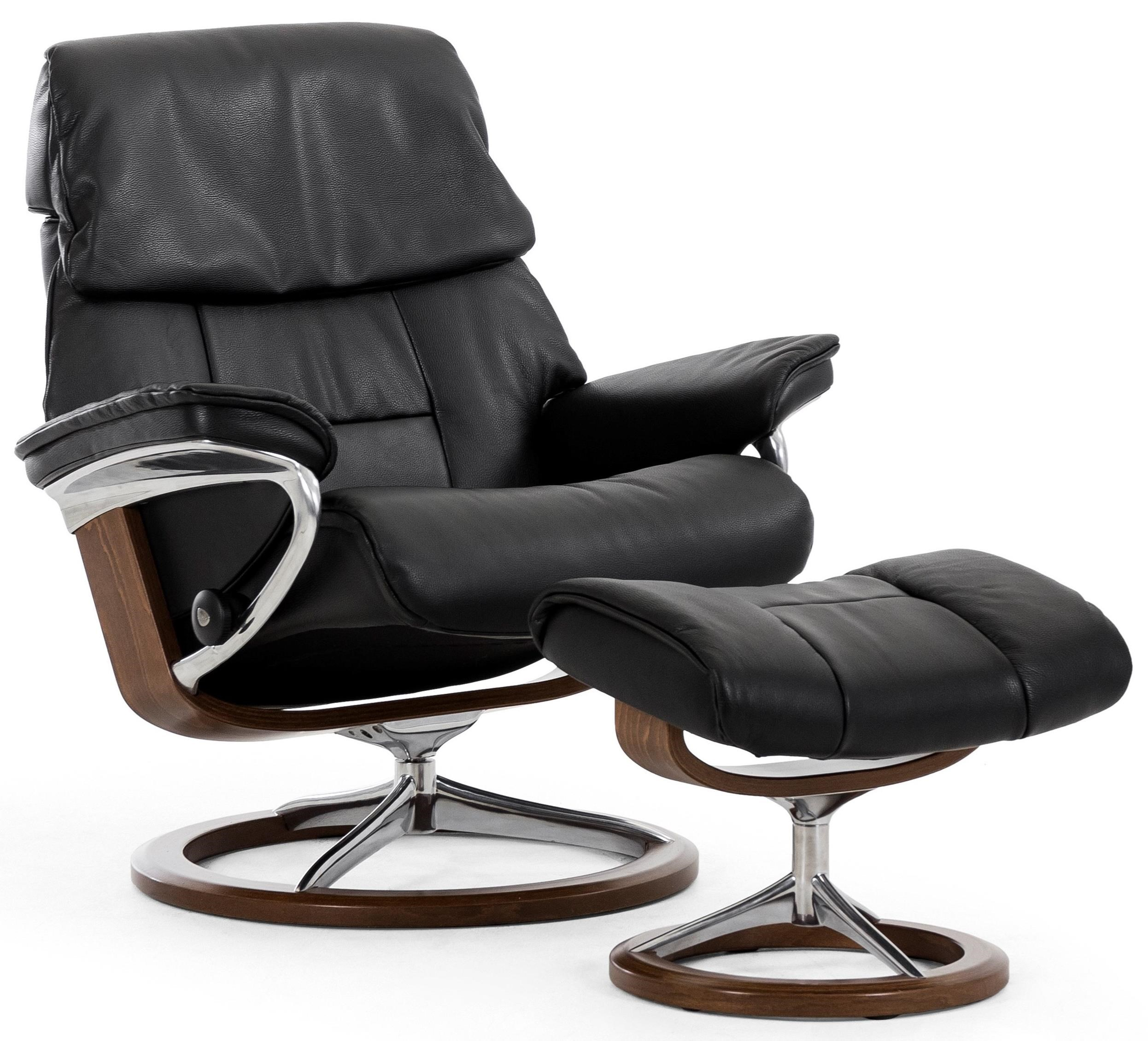 Beau Stressless Stressless Ruby Small Signature Reclining Chair And Ottoman