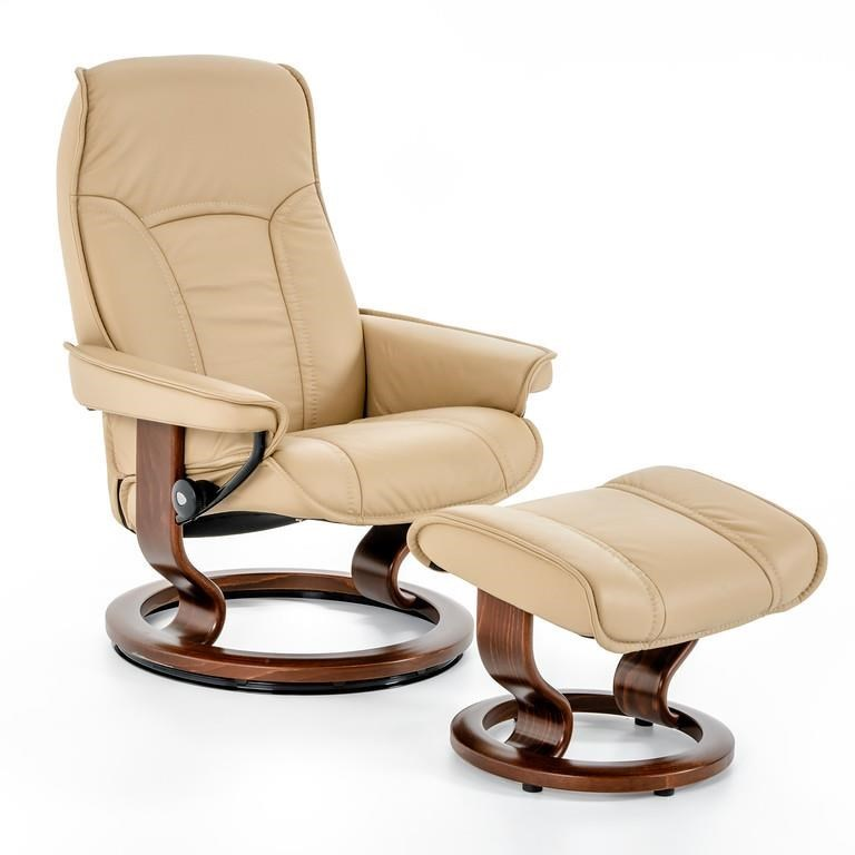 Stressless By Ekornes Senator 1050415 Batick Latte Brn Medium Classic Reclining Chair And Ottoman Baer S Furniture
