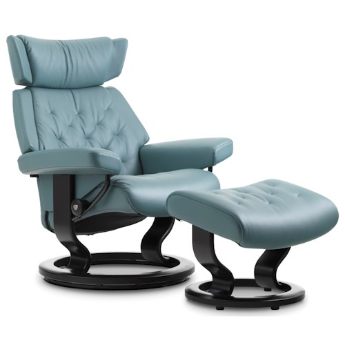 Stressless by Ekornes Stressless Skyline Large Classic Reclining Chair and Ottoman