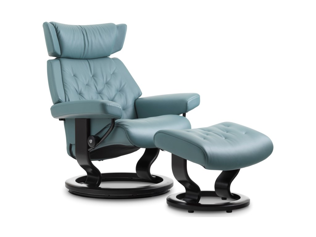 Stressless SkylineMedium Chair & Ottoman with Classic Base