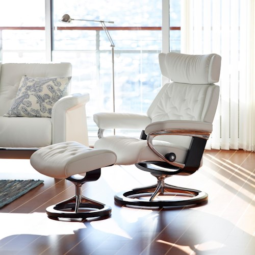 Stressless Skyline Medium Reclining Chair & Ottoman with Signature Base