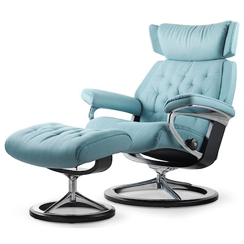 Stressless by Ekornes Stressless Skyline Medium Signature Reclining Chair and Ottoman