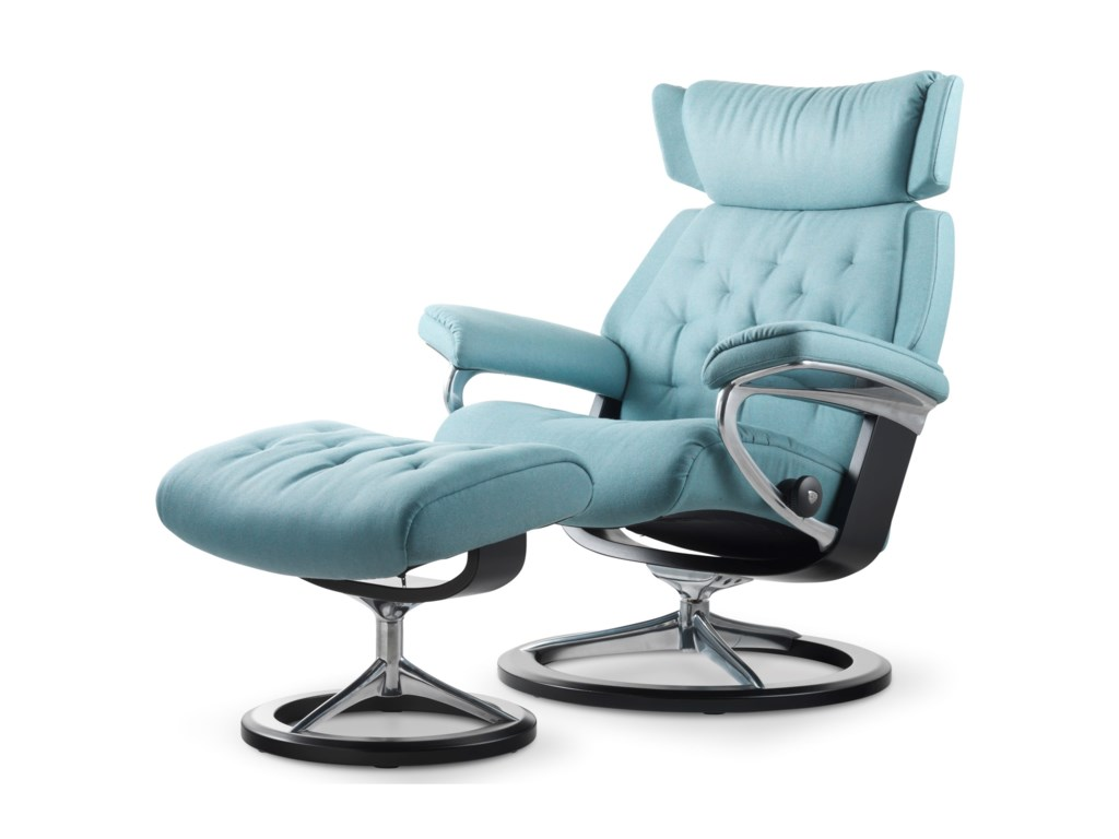 Stressless SkylineMedium Chair & Ottoman with Signature Base