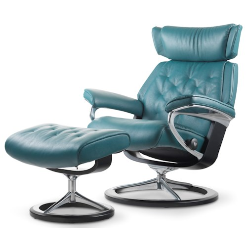 Stressless by Ekornes Stressless Skyline Large Signature Reclining Chair and Ottoman
