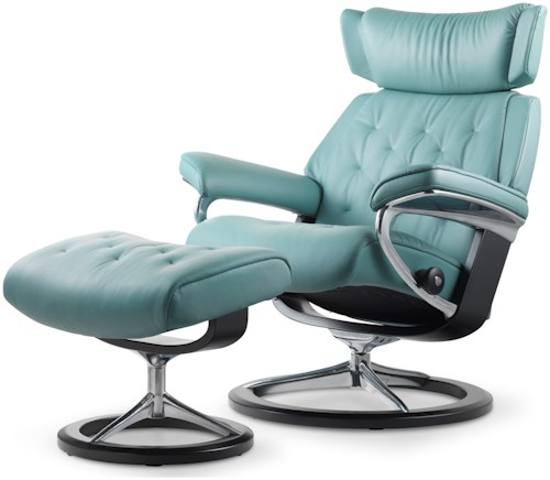 Stressless Skyline Large Reclining Chair & Ottoman with Signature Base