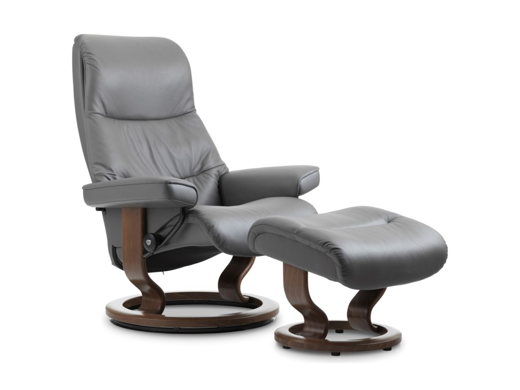 Stressless ViewMedium Chair & Ottoman with Classic Base