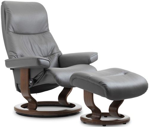 Stressless View Medium Reclining Chair & Ottoman with Classic Base