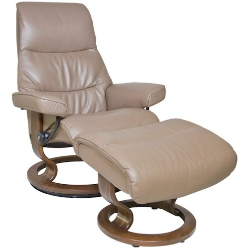 Stressless by Ekornes Stressless View Small Classic Reclining Chair and Ottoman