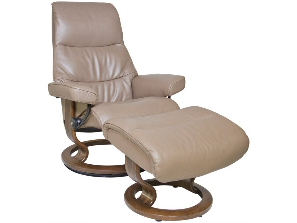 Stressless ViewSmall Chair & Ottoman with Classic Base