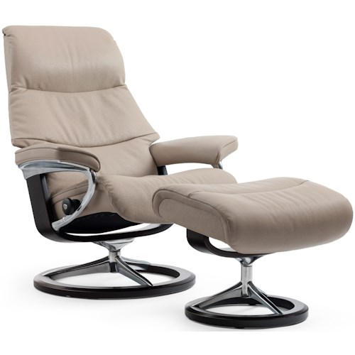 Stressless View Large Reclining Chair & Ottoman with Signature Base