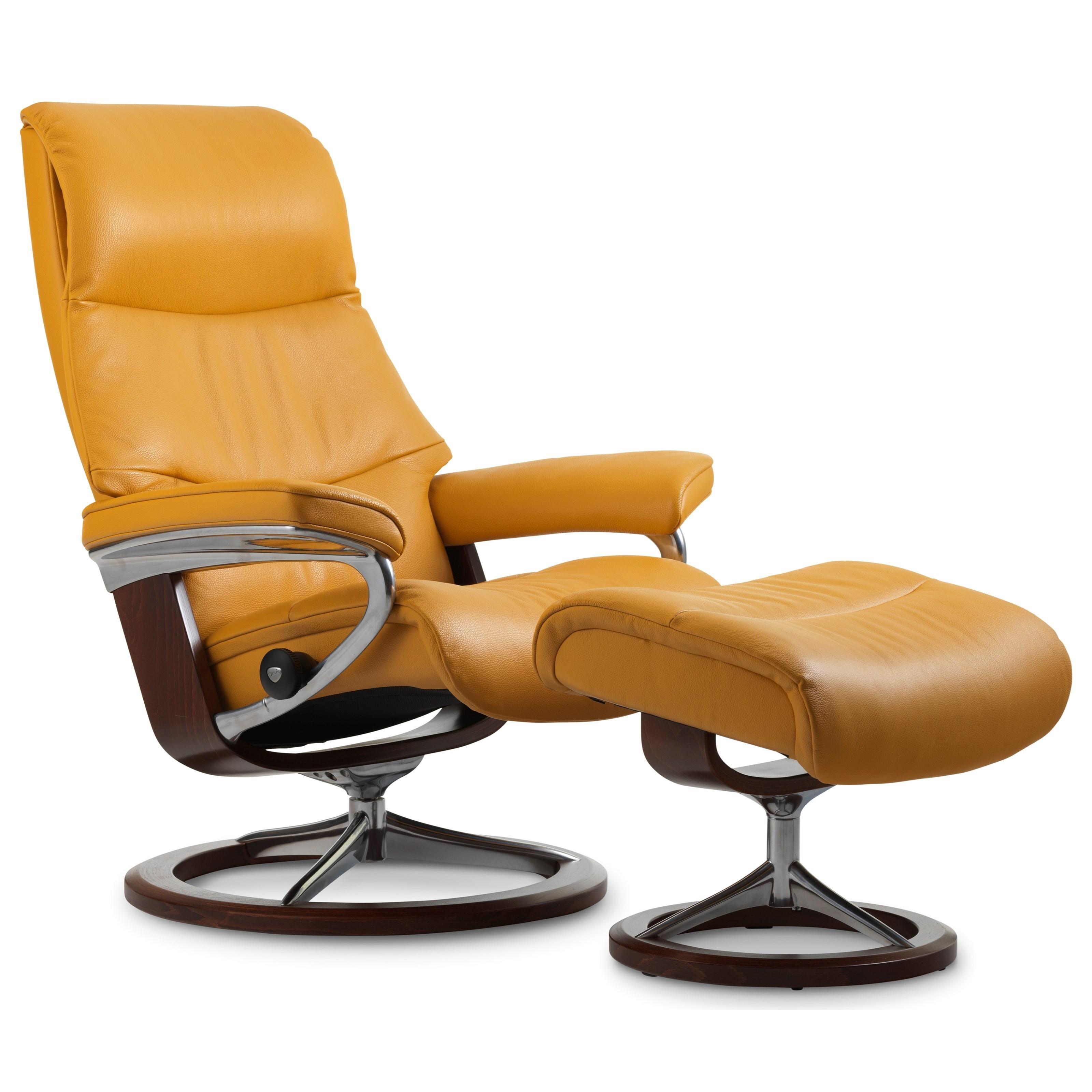 Stressless ViewMedium Chair U0026 Ottoman With Signature Base
