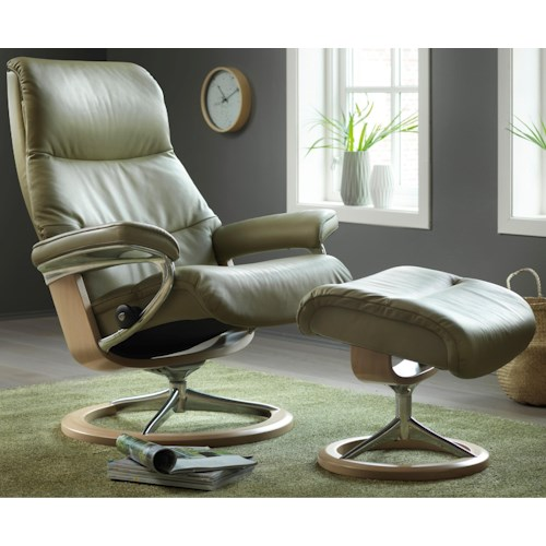 Stressless by Ekornes Stressless View Small Signature Reclining Chair and Ottoman