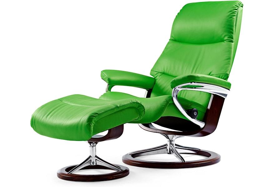 Stressless View Medium Reclining Chair Ottoman With Signature Base Sprintz Furniture Reclining Chair Ottoman Sets