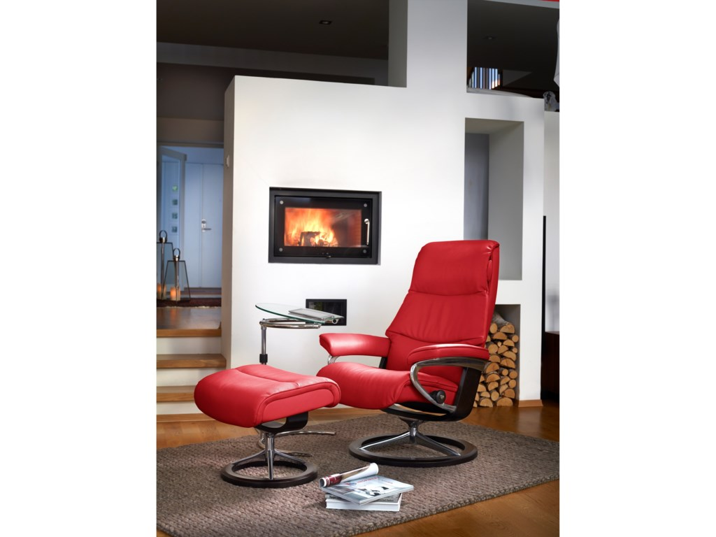 Stressless ViewSmall Chair & Ottoman with Signature Base