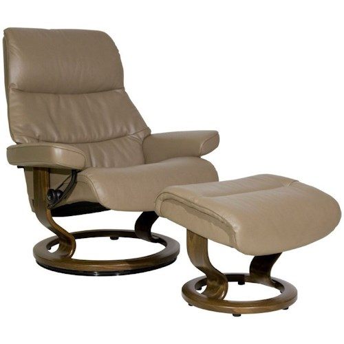 Stressless View Large Reclining Chair & Ottoman with Classic Base