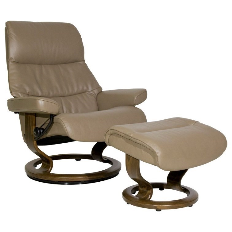 Stressless ViewLarge Chair U0026 Ottoman With Classic Base ...