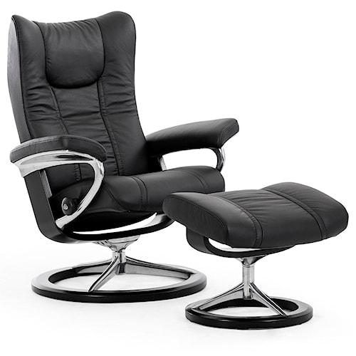 Stressless by Ekornes Stressless Wing Medium Signature Chair & Ottoman