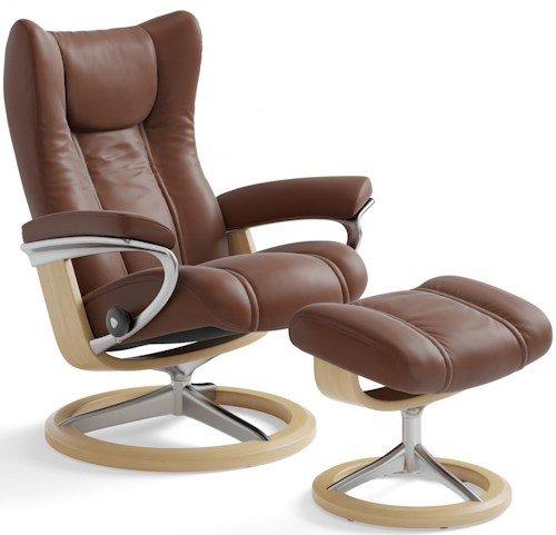 Stressless Wing Medium Reclining Chair & Ottoman with Signature Base