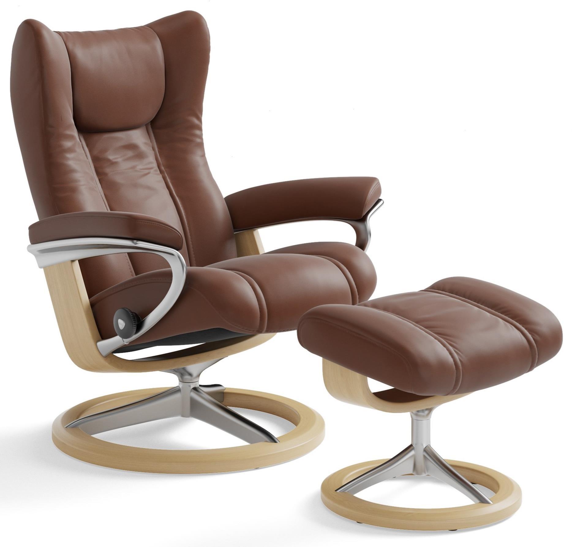 Stressless WingMedium Chair U0026 Ottoman With Signature Base