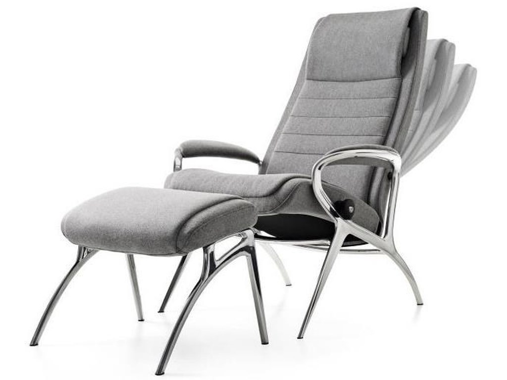 Stressless Stressless YouJohn Chair & Ottoman with Aluminum Base