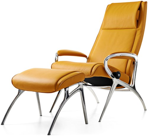 Stressless Stressless You James Reclining Chair & Ottoman with Aluminum Base