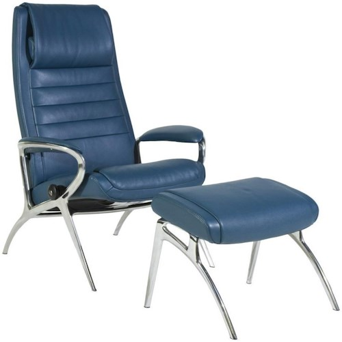 Stressless Stressless You John Reclining Chair & Ottoman with Aluminum Base
